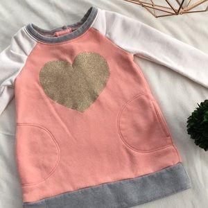 [ OLD NAVY Color Block Glitter Heart Dress ] 18-24